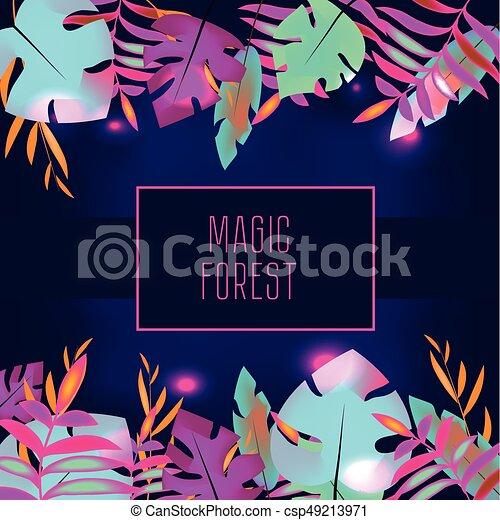 Tropic flyer design template tropical leaves with neon glowing tropic flyer design template tropical leaves with neon glowing advertisement background night maxwellsz