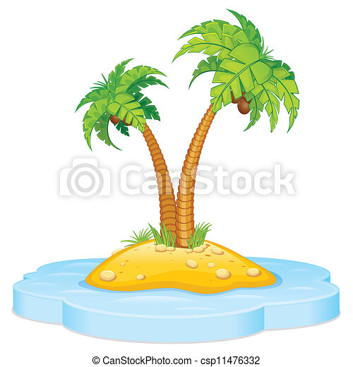 Tropic Island with Coconut Palm - csp11476332