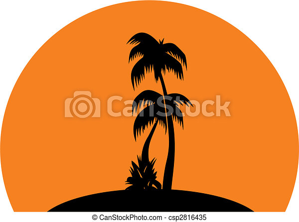 tropic sunset silhouettes of palm trees on the orange clipart rh canstockphoto com clipart sunset beach clip art sunset images