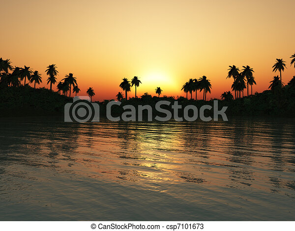 tropicais, lagoa, sunset. - csp7101673
