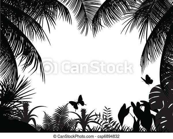 tropicais, silueta, floresta - csp6894832