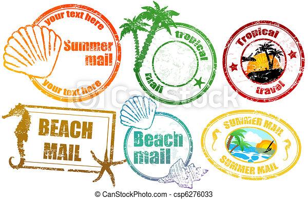 tropicais, verão, selos - csp6276033