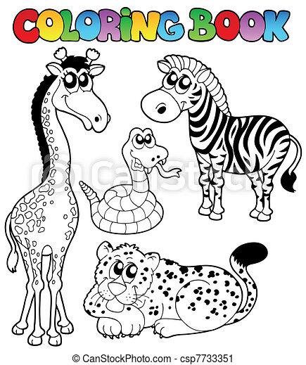 Libros de color, animales tropicales 1 - csp7733351