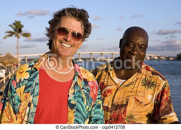 Amigos en vacaciones tropicales - csp0412708