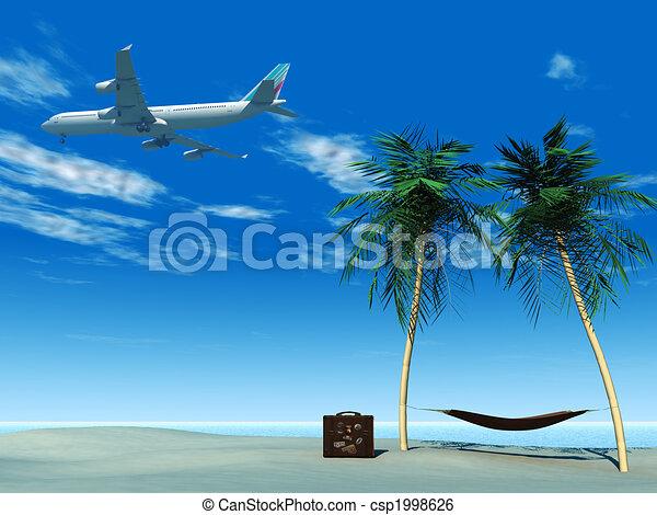 Avión volando sobre la playa tropical. - csp1998626