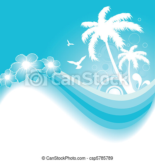 Tropical Background in Blue - csp5785789