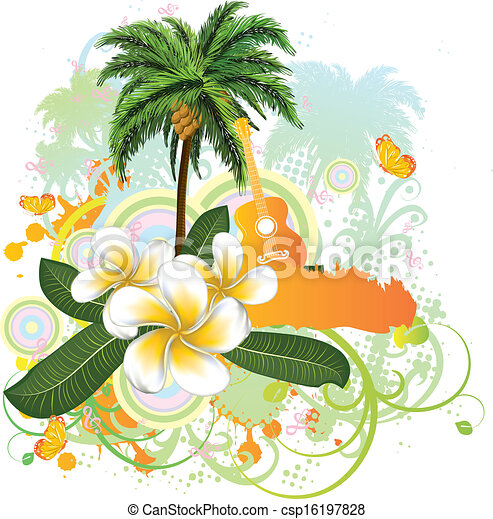 Tropical background with guitar - csp16197828