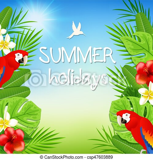 Tropical background with parrots - csp47603889