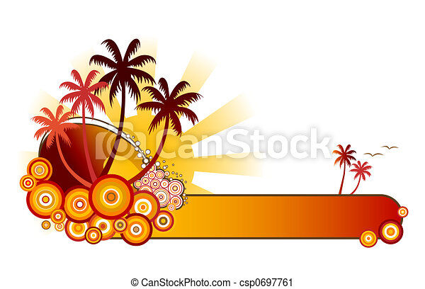 Tropical Banner-Red - csp0697761