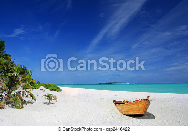 Tropical beach and ship - csp2416422