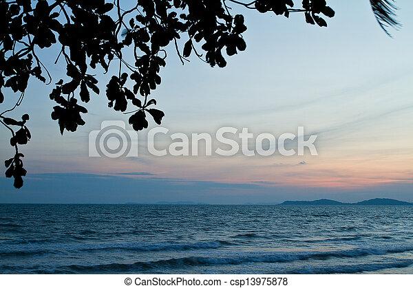 Tropical beach at beautiful sunset. Nature background   - csp13975878