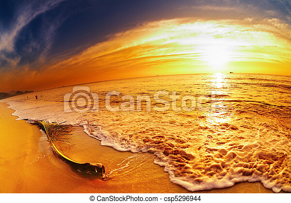 Tropical beach at sunset, Thailand - csp5296944