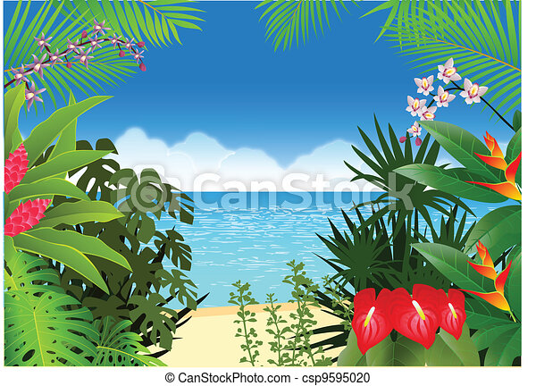 vector illustration of tropical beach background vector clipart rh canstockphoto com tropical beach clip art free tropical beach background clipart