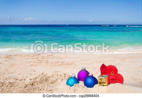 tropical beach christmas and new year background csp29968404 - Merry Christmas Hawaii