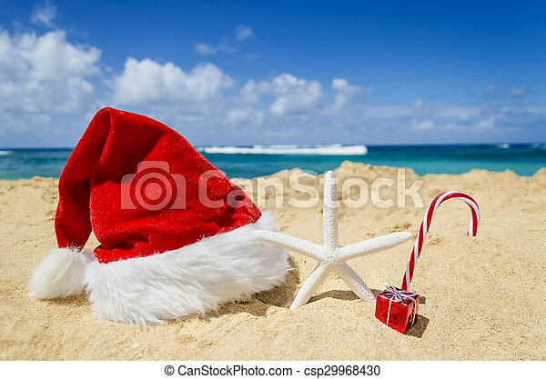 tropical beach christmas and new year background csp29968430