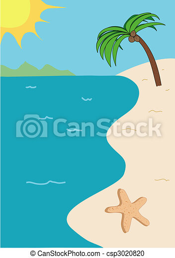 Tropical beach illustration - csp3020820