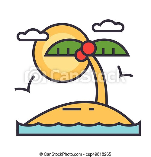Tropical Beach Island Summer Vacation Concept Line Vector Icon Editable Stroke Flat Linear Illustration Isolated On White Background