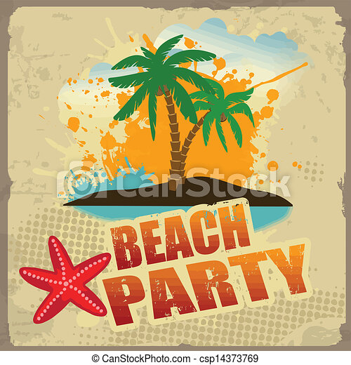 tropical beach party poster with splash and palms on vintage clip rh canstockphoto com beach party images clip art summer beach party clip art