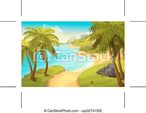 Tropical beach, vector background - csp32741302