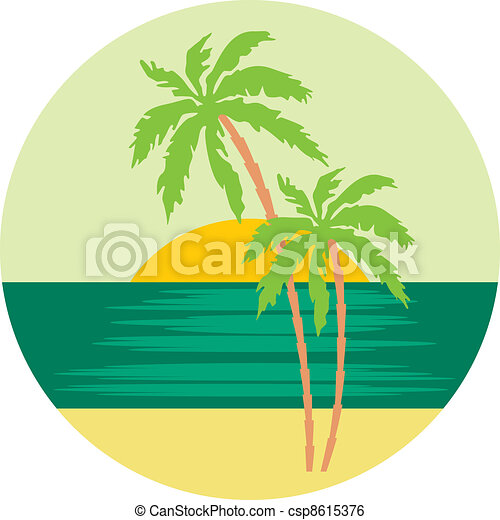 tropical beach with palm trees vector illustration color clip rh canstockphoto com tropical beach clip art kids swimming tropical beach clipart free