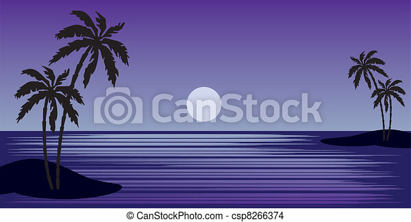 Tropical beach with palm trees - csp8266374