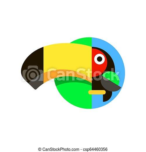 Tropical bird Toucan logo in flat style vector illustration - csp64460356