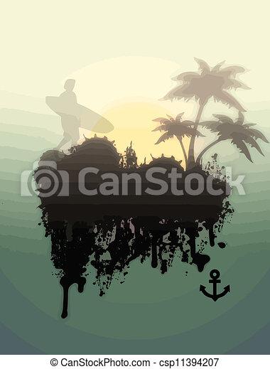 Surferen en lugar tropical - csp11394207