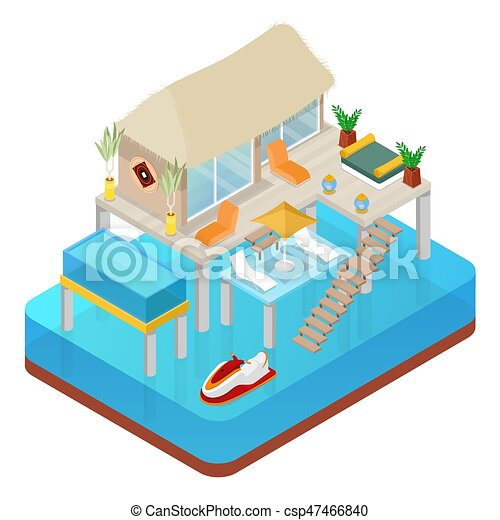 Tropical Bungalow With Jet Ski Beach Real Estate Isometric Vector Flat 3d Illustration