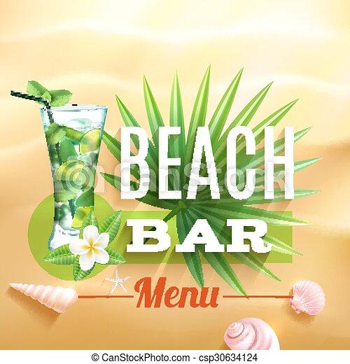 Un póster de diseño tropical - csp30634124
