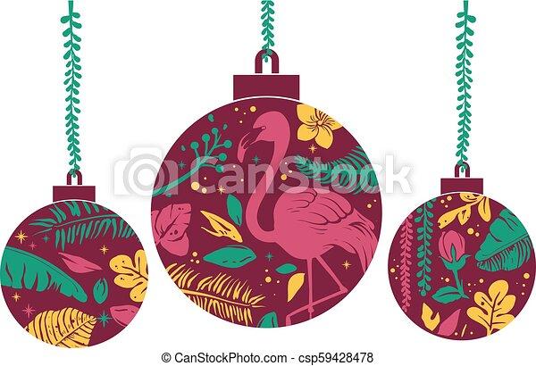 Tropical Christmas.Tropical Christmas Balls Illustration