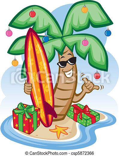 tropical christmas vector illustration of a tropical palm clip rh canstockphoto com hawaiian christmas clip art free