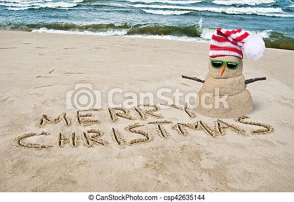 tropical Christmas snowman on beach - csp42635144