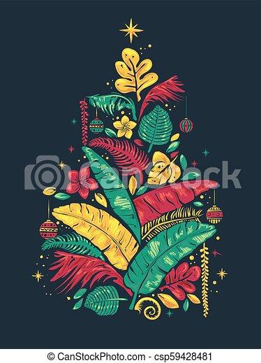Tropical Christmas.Tropical Christmas Tree Illustration