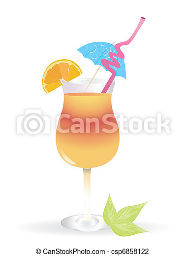 Tropical cocktail in glass isolated on white background with umbrella - csp6858122