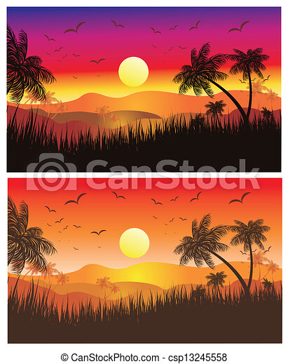 landscape sunset drawing. tropical desert sunset csp13245558 landscape drawing t