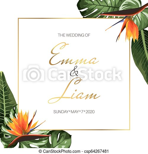 Tropical Exotic Wedding Event Invitation Card Template Border Frame Green Monstera Leaves Orange Strelitzia Flowers
