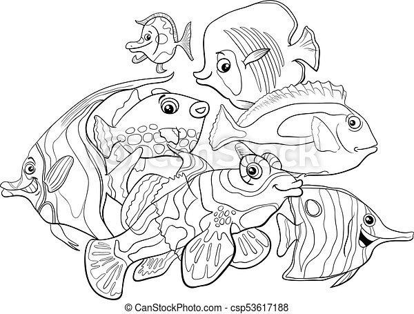 Black And White Cartoon Illustration Of Tropical Fish Sea Life Animal Characters Group Coloring Book