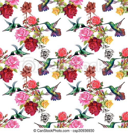 Tropical Floral Watercolor Seamless Pattern With Colibris Vectors