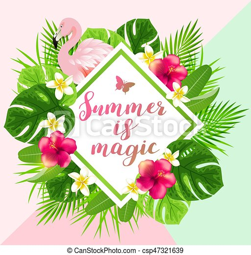 Tropical flowers and flamingo. Summer background with red ...