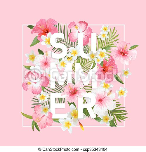 Tropical Flowers and Leaves Background. Summer Design. Vector. T-shirt Fashion Graphic. Exotic Background. - csp35343404