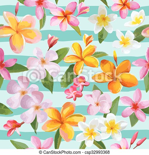 Tropical Flowers and Leaves Geometric Background - Vintage Seamless Pattern - in vector - csp32993368