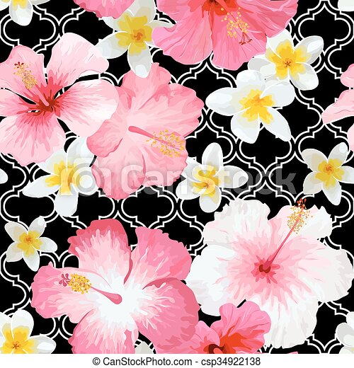 Tropical Flowers and Leaves Geometric Background - Vintage Seamless Pattern - in vector - csp34922138