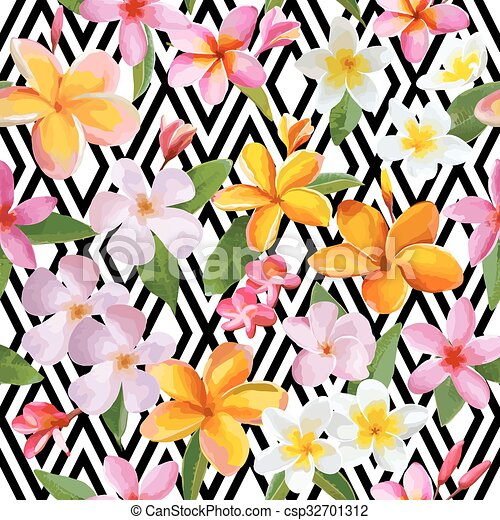 Tropical Flowers and Leaves Geometric Background - Vintage Seamless Pattern - in vector - csp32701312