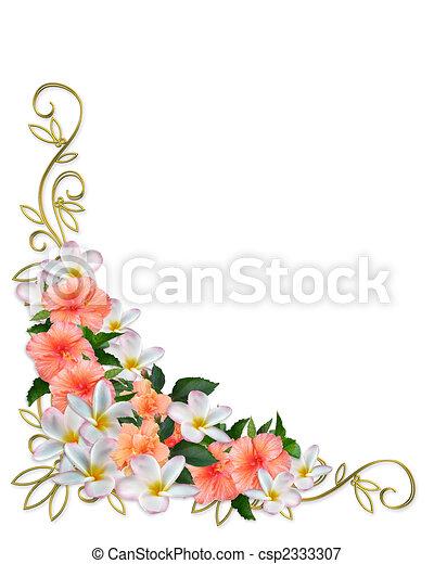 Tropical Flowers Corner Design Image And Illustration Composition
