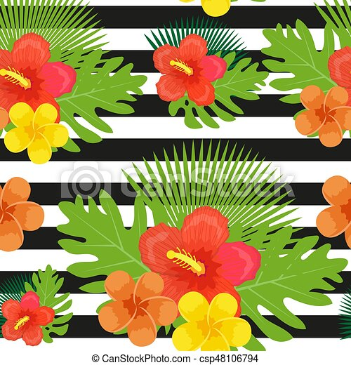 Tropical Flowers Plants Leaves And Black And White Stripes