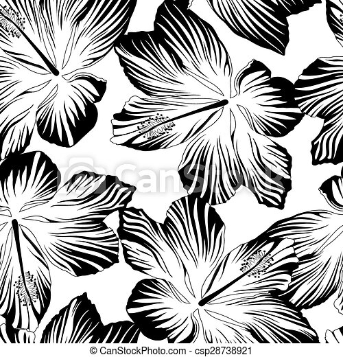 Tropical flowers seamless pattern in black and white mightylinksfo