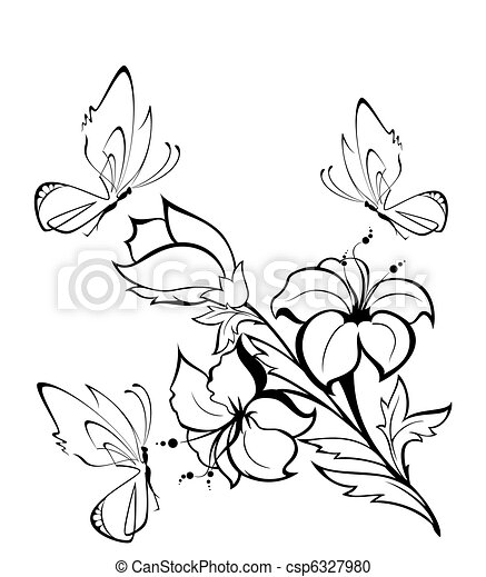Tropical flowers with butterfly stock illustration ...