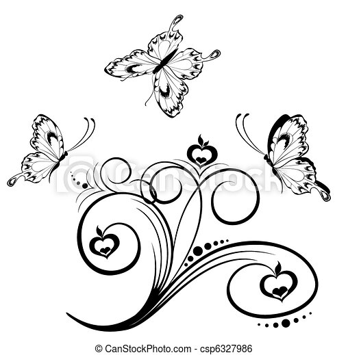 Tropical Flowers With Butterfly Stock Illustration