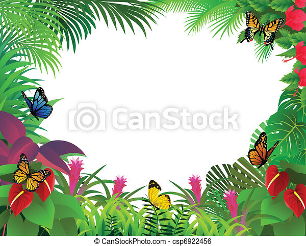tropical forest background rh canstockphoto com Tropical Rainforest Clip Art Black and White Tropical Rainforest Animals Clip Art