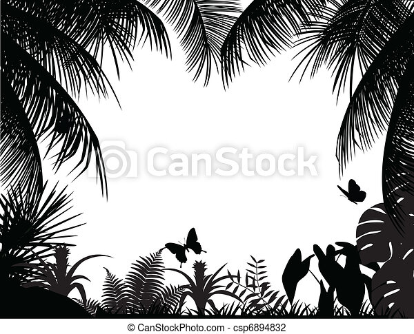 tropical forest silhouette - csp6894832